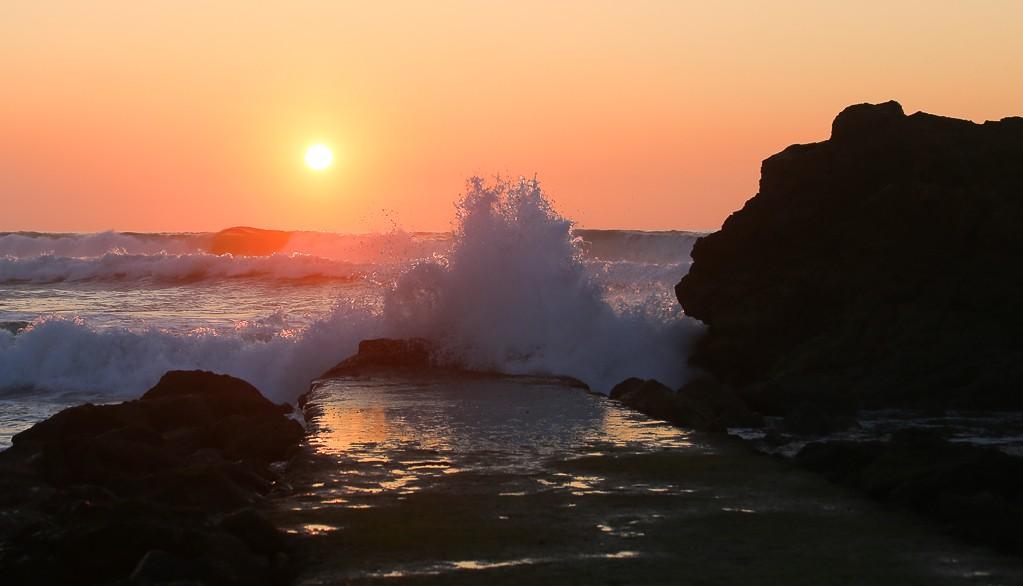 vague coucher du soleil