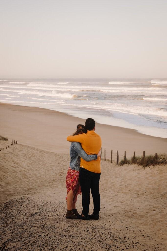 séance engagement à la plage dans les Landes